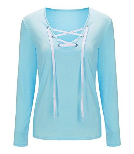 Xiang Ru Femme Pull à Manches Longues Sweat-Shirt Automne Top à Lacet Chemisier Sport T-Shirt Casual Bleu