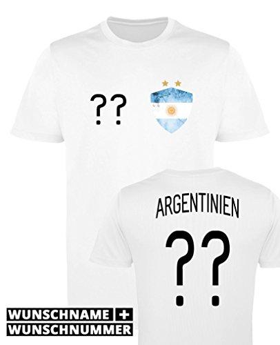 Comedy Shirts - Argentinien Trikot - Wappen: Klein - Wunsch - Herren Trikot - Weiss/Schwarz Gr. L