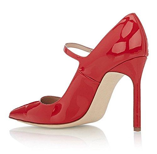 Kolnoo Damen Hohen Absatz Mary Jane Pumps Riemen Hochzeitsschuhe Klassisch Schuhe Größe Rot
