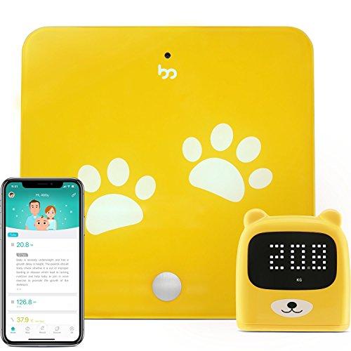 Growp Smart Bluetooth Wachstums-Tracker - Hochpräzise Digitalwaage und Messlatte mit gratis App (iOS&Android) Gewicht und Größe des Kindes intelligent zu verfolgen