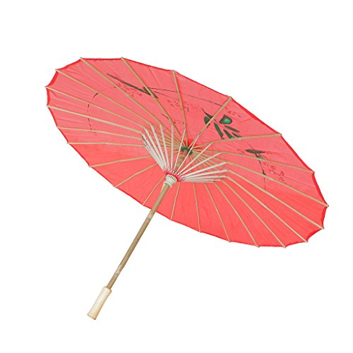 MagiDeal Chinesischen Regenschirm - Asiatischen Sonnenschirm - Tanz Schirm - Tanzen Requisiten - Handgemacht - aus Stoff - Rot