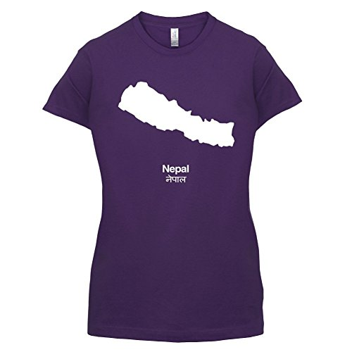 Nepal / Demokratische Bundesrepublik Nepal Silhouette - Damen T-Shirt - 14 Farben Lila