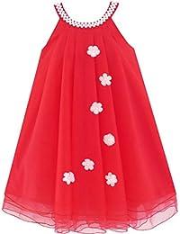 Sunny Fashion Robe Fille Fleur Licou Habiller Perle Partie Mariage Anniversaire 4-14 ans