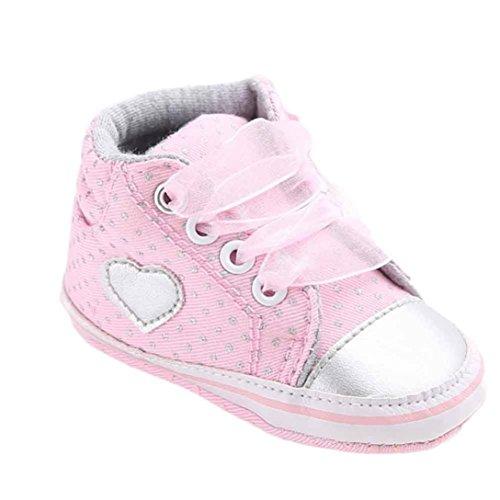 (LuckyGirls Canvas Schuhe Baby Schuhe Mädchen Jungen Lauflernschuhe Rutschfest Schuhe Stiefel Hohe Schuhe Herzform Sneaker Weiche Sohle Kleinkind Sport Schuhe (11, pink))