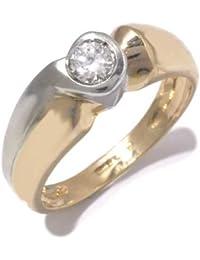 Fiançailles Bague Femme en Or 18 carats Blanc/Jaune avec Zircon Blanc