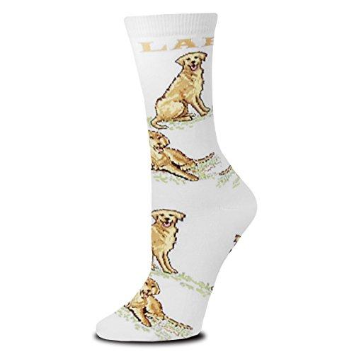 For Bare Feet Fbf Originals Hundesocken, Damen, Fbf Originals Novelty Dog Sock, Golden Lab All Over, Medium -