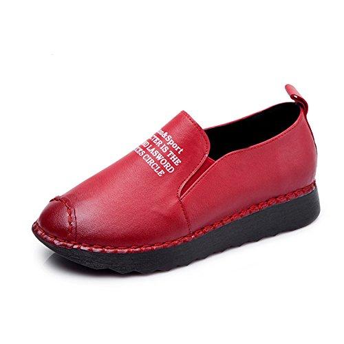 Damen Einfach Freizeit Halbschuhe Slip-on Weich Glattleder Soft Flache Gummi Sohle Bequem Faul Schuhe Rote Buchstaben