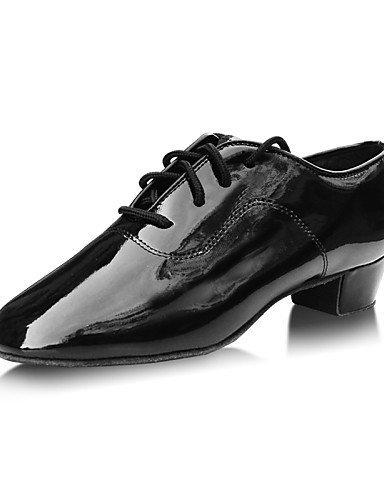 ShangYi Chaussures de danse ( Noir / Rouge ) - Non Personnalisables - Talon Bas - Cuir - Latine Black
