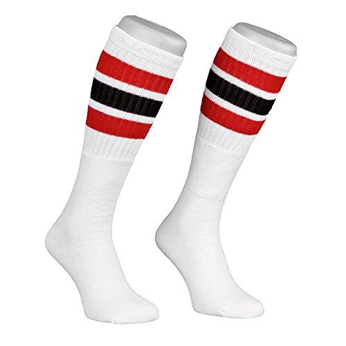 Skatersocks Skater Socken 22 Inch Tube Socks gestreifte retro Kniestrümpfe weiß schwarz rot (Gestreifte Rote Und Weiße Socken)