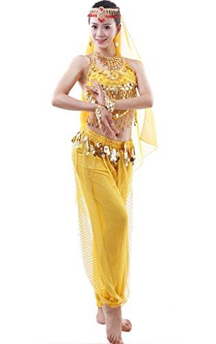 Astage Damen Bauchtanz Kostüm Indischer Tanz Top Hose Alle Zubehör Sets Gelb