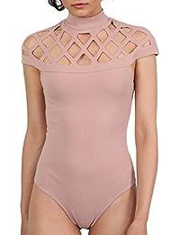 PILOT® Women's Choker Caged Detail Bodysuit in Rose Pink