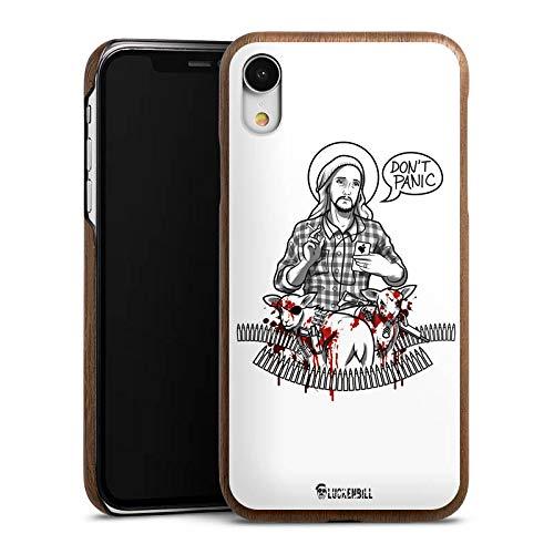DeinDesign Holz Hülle kompatibel mit Apple iPhone Xr Holz Schutzhülle Echtholz Handyhülle Jesus Schaf Blut