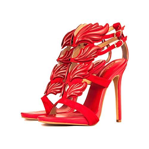 Frauen High Heels Pumps Sandalen Sommer Schnalle Metall Dekoration Blatt Flamme Peep Toe Casual Damen Party Hochzeit Schuhe -