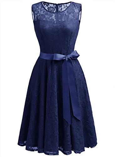Dressystar DS0009 Abendkleid Ärmellos Kurz Brautjungfern Kleid Spitzen Rundhals Damen Kleider Marineblau XS