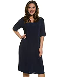 Ulla Popken Femme Grandes tailles Col rond Robe Courte et Manches Courtes femme - Maxi Dress Robe Emeraude Sexy Casual pour Femme Grande Taille 704549