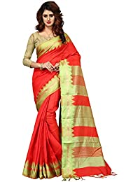Greenvilla Designs Red Poly Cotton Partywear Saree With Blouse