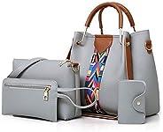 Women Tote Bag Handbags Set 4Pcs One Shoulder Bag One Hand Bag And Two Purses PU Leather