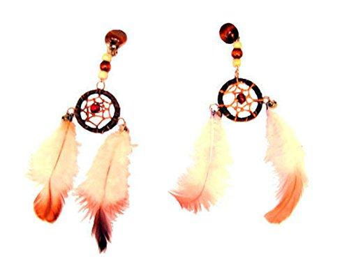 Halloweenia - Indianer Ohrringe- Federn bunter Ohrschmuck Traumfänger Indianerkostüm Federschmuck, Mehrfarbig