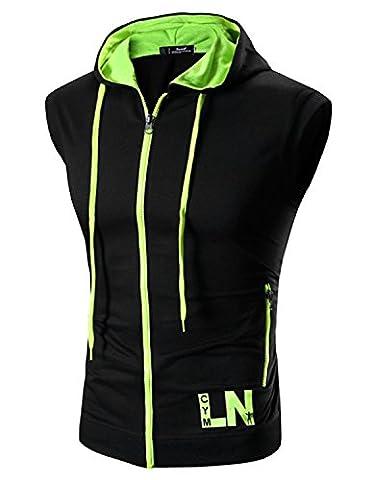 Boom Fashion Homme à Capuche Maillot Sans Manches Casual Jogging Athletic Fitness T shirt Haut Gilet - Noir 1 - FR M-Étiquette XL(Buste:40.9