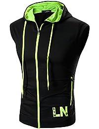 Boom Fashion Hombres Camiseta Sudaderas con Capucha Sin Mangas Casual Deporte Fitness T-shirt