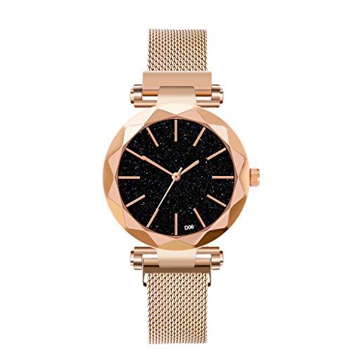XZDCDJ Damen Armbanduhr Sternenhimmel Frauen Uhr wasserdicht Magnet edelstahlband kostenlos Schnalle Geschenk Damen Uhren Billig