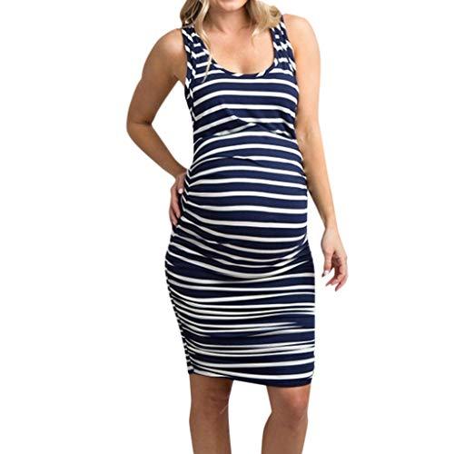 Patifia Umstandsmode Damen, Frauen-ärmelloses schwangeres Mutterschaftskleid-Streifen-Druck-Bequem Sommerkleid-reizvoller Strand Langer Rock Rundhalsausschnitt Weste Kleid