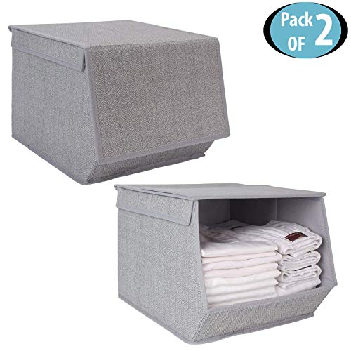 HomeStorie Non-Woven Fabric Storage Boxes with Lid for Clothes (Grey, 25 x 35 x 24 cm) - Pack of 2