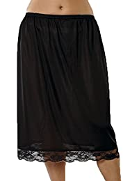 "Ladies Elasticated Waist Half Slip Petticoat With Pretty Lace Trim 25"" Long"