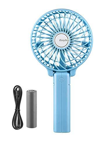 EasyAcc Handventilator Tragbarer Mini Lüfter Elektrischer USB Ventilator mit Aufladbarem LG 2600mAh Batterie Faltbar Kompatibel mit Laptop, Multi Port Steckdose für Reisen und Zuhause - Blau