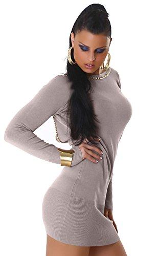 Damen Strickkleid & Pullover mit Zierkette Einheitsgröße (34-40) Hellgrau