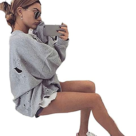 Hoodie Damen Xinan Sweatshirt Pullover Crop Top Coat Sport Tops (M, Grau)