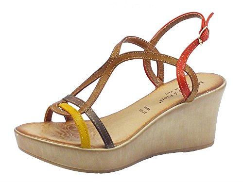 Sandali Mercante di Fiori in pelle multicolore rosso marrone senape (Taglia 40)