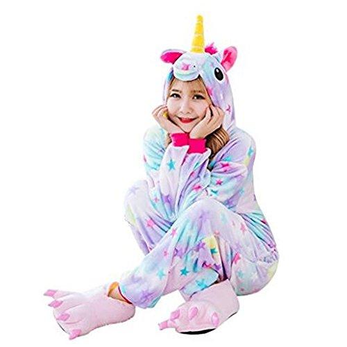 Süßes Einhorn Overalls Jumpsuits Pyjama Fleece Nachtwäsche Schlaflosigkeit Halloween Weihnachten Karneval Party Cosplay Kostüme für Unisex Kinder und Erwachsene (S, Stern Einhorn) - 4