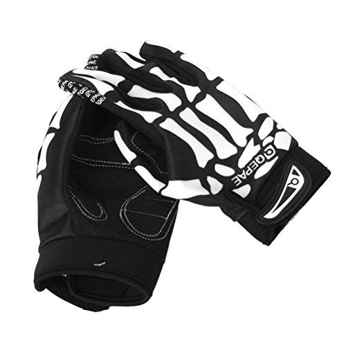 Museya Una coppia di F7507 modello scheletro completo dito bici bicicletta ciclismo guanti sportivi - taglia M (nero + bianco) Taglia M