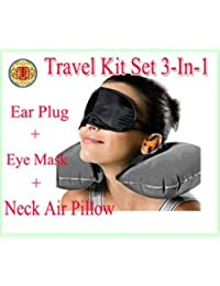 Wyane Enterprises 3 In 1 Air Travel Kit Combo Of Pillow,Ear Buds & Eye Mask( Colours As Per Availability)