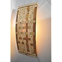 TLITIA Aplique de pared reciclado de madera. Étnico, crudo Lámpara de pared grande en madera, hojas tejidas trenzadas MADE in FRANCE