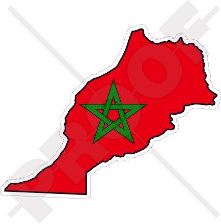 MAROC Marocain Carte-Drapeau Afrique de l'Ouest, Africain, 110mm Vinyl Sticker, Autocollant