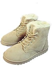 Xianshu Mujeres Invierno Algodón Botas de Nieve Cordones Calentar Botas