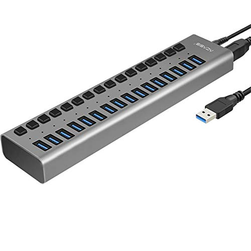 LPVIE USB-Hub, Multiport-USB-Hub 10 Port 13 Port 16 Port USB 3.0 Port Power Multi-Interface-Erweiterung Und Unabhängiger EIN/Aus-Schalter Und Anzeige,16port6Apowersupply (Hdmi-switch, 10-port)