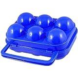Jungen plástico 6redes al aire libre Picnic portátil huevo Caja de almacenaje azul