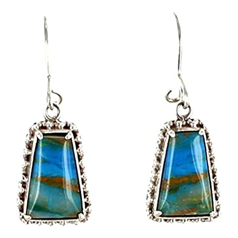 PERUVIAN OPAL EARRINGS BRIGHT SCENIC COLORS