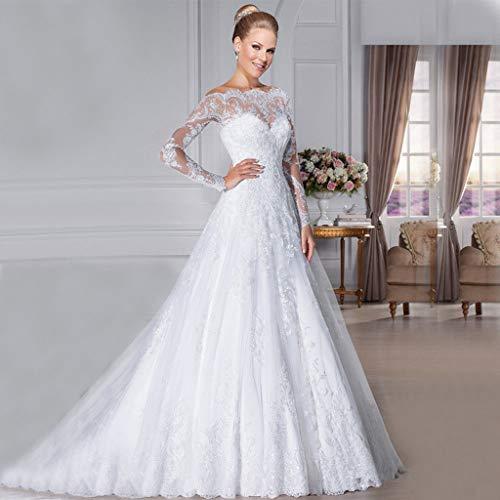 Jyl - abito da sposa, abito da damigella d'onore, con spalle profonde, maniche lunghe, lunghezza del pavimento, avorio, us:6 (l)