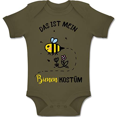 Shirtracer Karneval und Fasching Baby - Das ist Mein Bienen Kostüm - 12-18 Monate - Olivgrün - BZ10 - Baby Body Kurzarm Jungen Mädchen (Honig Bienen Kostüme Für Babys)