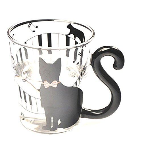 Tasse en Verre Tasse de Thé Mug Créatif Chat Mignon Musique