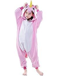 6074164d12d Pijama Unicornio Niña Niño Mono Franela Kigurumi Animales Entero Unisex  Sleepsuit Romper Homewear Onesie Cosplay Traje