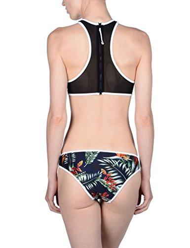 CIDEARY Damen Mesh Bikini Set Hoher Hals Reißverschluss Ernte Spitzen Sportlich Bademode Mehrfarbig