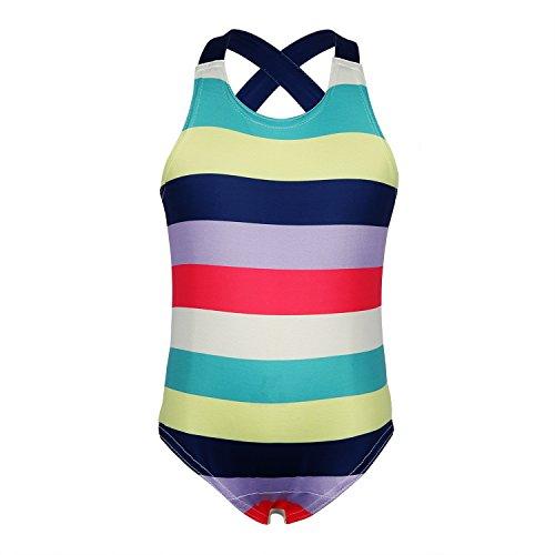 Dance Fairy Badeanzüge Für Mädchen Kinder und Kleinkind Einteiler Mädchen Swimwear,Bunte Streifen,# 6/6-8 Jahre (Kleinkind Mädchen Badeanzug Einteiler)