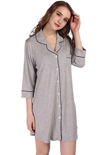 Vislivin Frauen Modal Button Down Sleepshirt Gray
