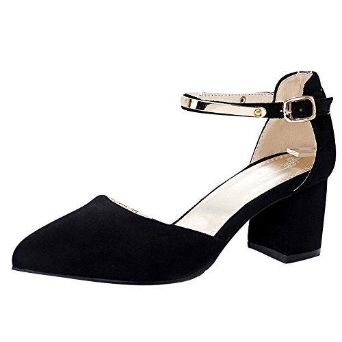 Mee Shoes Damen chunky heels ankle strap Schnalle Pumps Schwarz