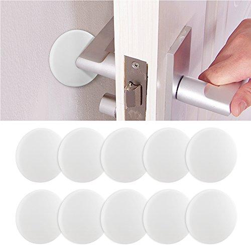 Mopoin Türpuffer Türstopper, 10 Stück Wandschutz Selbstklebend Wandpuffer Weiß Wand Puffer Anschlagdämpfer Tür Schutzkappen für Möbel Durchmesser 40mm/ Höhe 8mm
